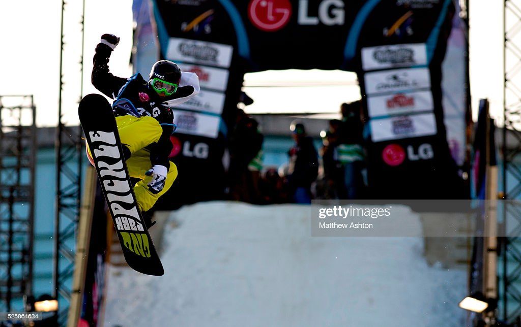 Mathias Weissenbacher from Austria competing in the LG Snowboard International Ski Federation in London