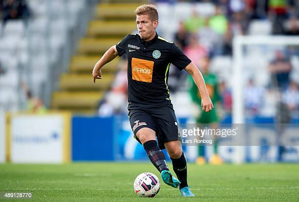 Mathias Wichmann of Viborg FF controls the ball during the Danish Alka Superliga match between OB Odense and Viborg FF at TreFor Park on September 19...