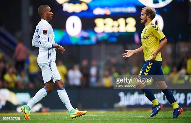 Mathias Zanka Jorgensen of FC Copenhagen and Teemu Pukki of Brondby IF discuss an incident during the Danish Alka Superliga match between Brondby IF...