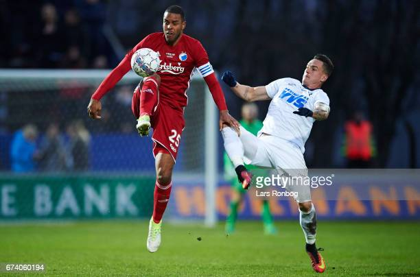 Mathias Zanka Jorgensen of FC Copenhagen and Tiago de Leonco of Vendsyssel FF compete for the ball during the Danish cup DBU Pokalen semfinal match...