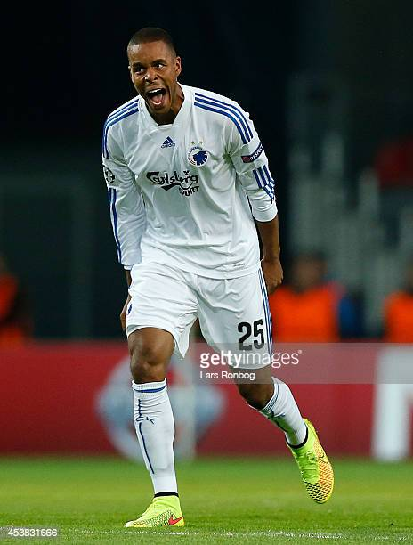 Mathias Zanka Jorgensen of FC Copenhagen celebrates after scoring their first goal during during the UEFA Champions League Qualifying PlayOffs Round...