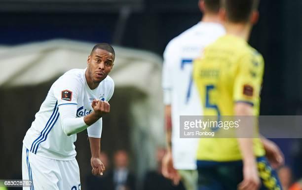 Mathias Zanka Jorgensen of FC Copenhagen gestures against Benjamin Verbic of FC Copenhagen during the Danish Alka Superliga match between FC...