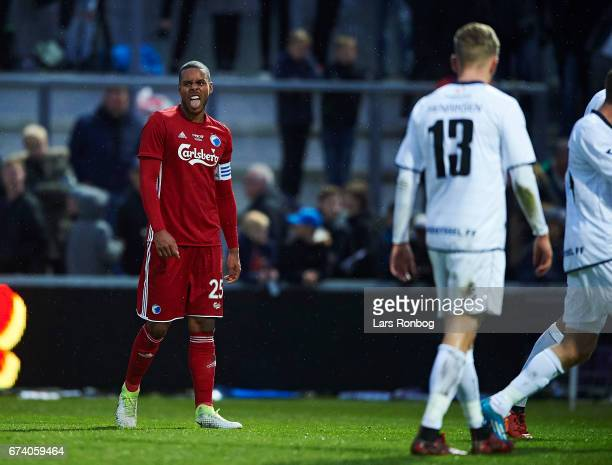 Mathias Zanka Jorgensen of FC Copenhagen makes a face during the Danish cup DBU Pokalen semfinal match between Vendsyssel FF and FC Copenhagen at...