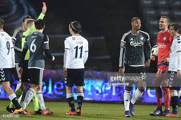 Mathias Zanka Jorgensen of FC Copenhagen walks off the pitch after receiving a red card from referee Jorgen Daugbjerg Burchardt during the Danish...