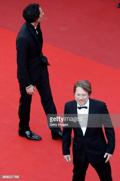 Mathieu Amalric and Adrien Brody attend the 'Based On A True Story' screening during the 70th annual Cannes Film Festival at Palais des Festivals on...