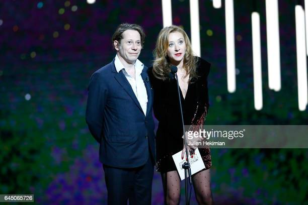 Mathieu Amalric and Sylvie Testud are seen on stage during the Cesar Film Awards Ceremony at Salle Pleyel on February 24 2017 in Paris France