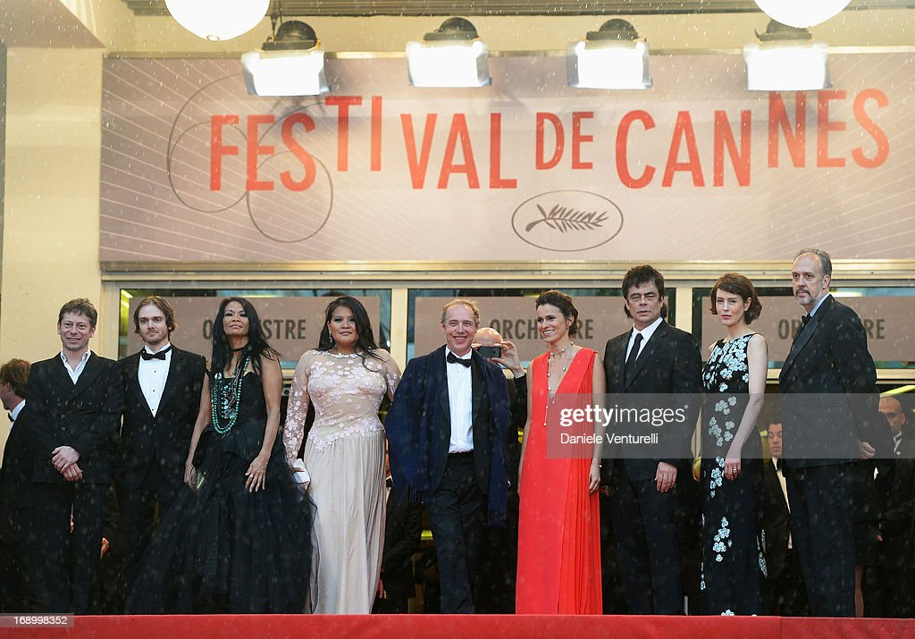 Mathieu Amalric, Danny Mooney, Michelle Thrush, Misty Upham, director Arnaud Desplechin, French Culture minister Aurelie Filippetti, actor Benicio del Toro, actress Gina McKee and writer Kent Jones attend the Premiere of 'Jimmy P. (Psychotherapy Of A Plains Indian)' at Palais des Festivals during The 66th Annual Cannes Film Festival on May 18, 2013 in Cannes, France.