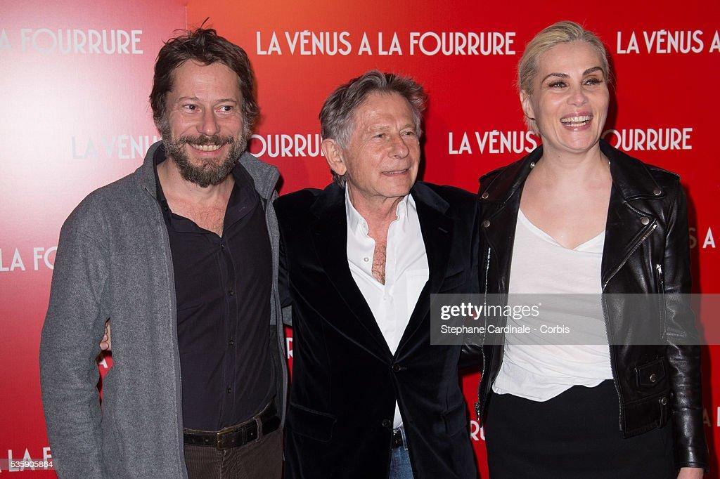 Mathieu Amalric, Director Roman Polanski and his wife Emmanuelle Seigner attend 'La Venus A La Fourrure' (Venus In Fur) Premiere at Cinema Gaumont Marignan, in Paris.