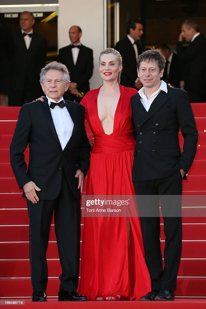 <a gi-track='captionPersonalityLinkClicked' href=/galleries/search?phrase=Mathieu+Amalric&family=editorial&specificpeople=612979 ng-click='$event.stopPropagation()'>Mathieu Amalric</a>, <a gi-track='captionPersonalityLinkClicked' href=/galleries/search?phrase=Emmanuelle+Seigner&family=editorial&specificpeople=240590 ng-click='$event.stopPropagation()'>Emmanuelle Seigner</a> and Roman Polanski attends the Premiere of 'La Venus A La Fourrure' at The 66th Annual Cannes Film Festival on May 25, 2013 in Cannes, France.