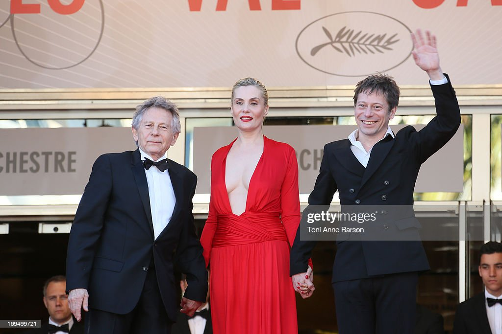 <a gi-track='captionPersonalityLinkClicked' href=/galleries/search?phrase=Mathieu+Amalric&family=editorial&specificpeople=612979 ng-click='$event.stopPropagation()'>Mathieu Amalric</a>, <a gi-track='captionPersonalityLinkClicked' href=/galleries/search?phrase=Emmanuelle+Seigner&family=editorial&specificpeople=240590 ng-click='$event.stopPropagation()'>Emmanuelle Seigner</a> and <a gi-track='captionPersonalityLinkClicked' href=/galleries/search?phrase=Roman+Polanski&family=editorial&specificpeople=207150 ng-click='$event.stopPropagation()'>Roman Polanski</a> attends the Premiere of 'La Venus A La Fourrure' at The 66th Annual Cannes Film Festival on May 25, 2013 in Cannes, France.