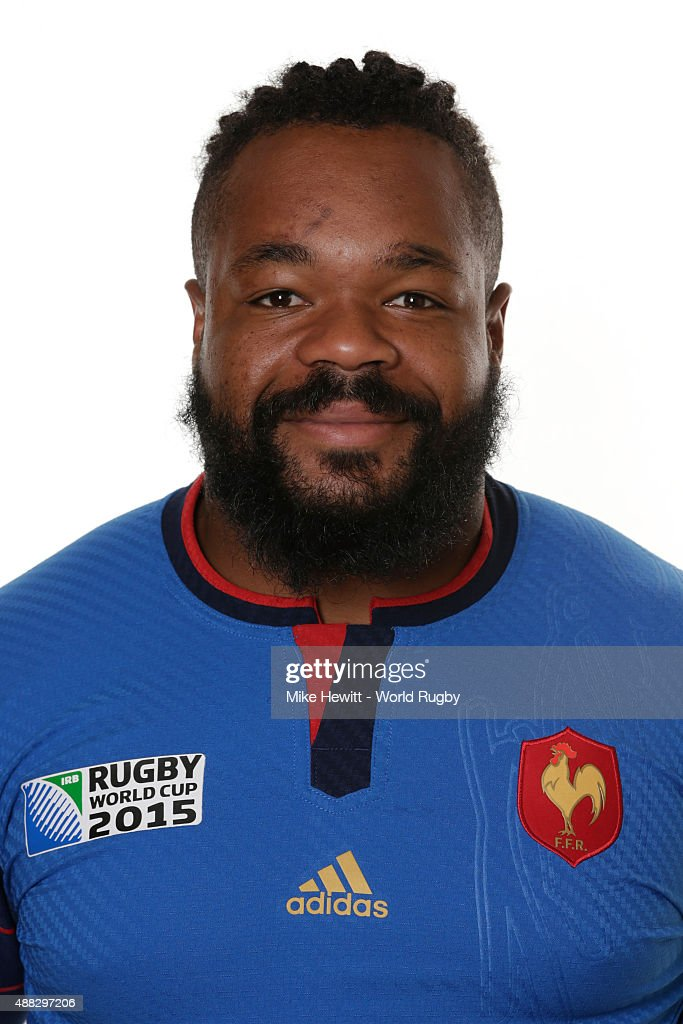 Mathieu Bastareaud of France poses during the France Rugby World Cup 2015 squad photo call at the Selsdon Park Hotel on September 15, 2015 in Croydon, England.