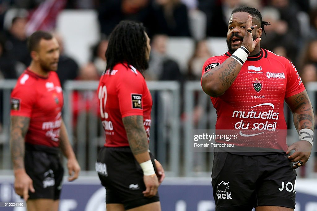 <a gi-track='captionPersonalityLinkClicked' href=/galleries/search?phrase=Mathieu+Bastareaud&family=editorial&specificpeople=677501 ng-click='$event.stopPropagation()'>Mathieu Bastareaud</a> of RC Toulon gestures during the Top 14 rugby match between Union Bordeaux Begles and RC Toulon at Stade Matmut Atlantique on February 14, 2016 in Bordeaux, France.