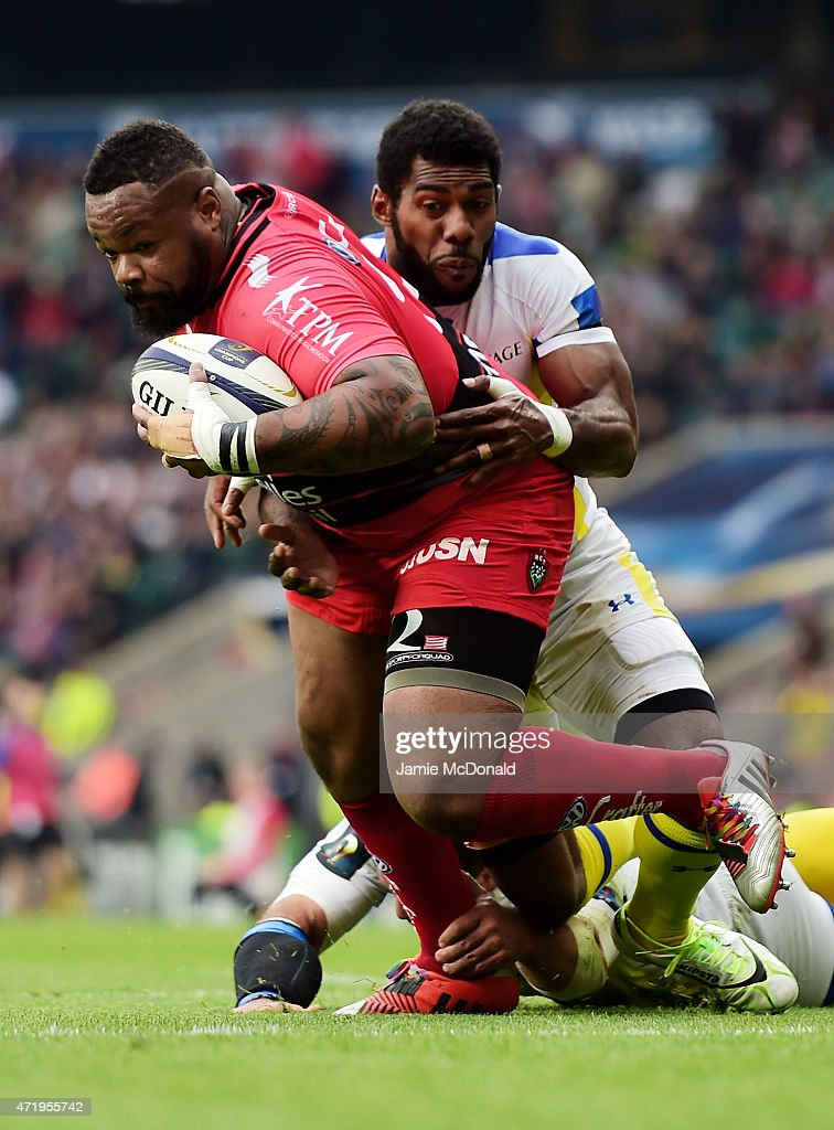 Mathieu Bastareaud of Toulon barges over to score his team's first try during the European Rugby Champions Cup Final match between ASM Clermont Auvergne and RC Toulon at Twickenham Stadium on May 2, 2015 in London, England.