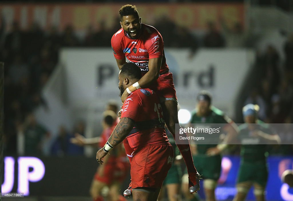 <a gi-track='captionPersonalityLinkClicked' href=/galleries/search?phrase=Mathieu+Bastareaud&family=editorial&specificpeople=677501 ng-click='$event.stopPropagation()'>Mathieu Bastareaud</a> of Toulon is congratulated by team mate <a gi-track='captionPersonalityLinkClicked' href=/galleries/search?phrase=Delon+Armitage&family=editorial&specificpeople=556925 ng-click='$event.stopPropagation()'>Delon Armitage</a> after scoring a try during the European Rugby Champions Cup pool three match between RC Toulon and Leicester Tigers at Felix Mayol Stadium on December 13, 2014 in Toulon, France.