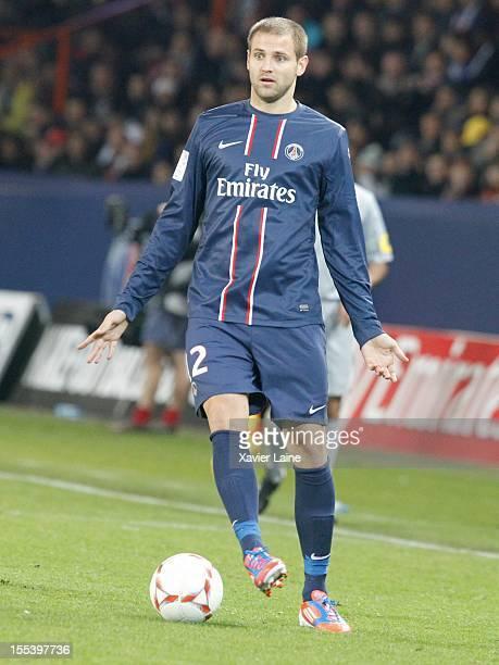 Mathieu Bodmer of Paris SaintGermain FC during the French Ligue 1 between Paris SaintGermain FC and AS SaintEtienne at Parc des Princes on November...