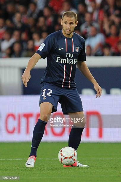 Mathieu Bodmer of Paris SaintGermain FC in action during the Ligue 1 match between Paris SaintGermain FC and FC Lorient at Parc des Princes on August...