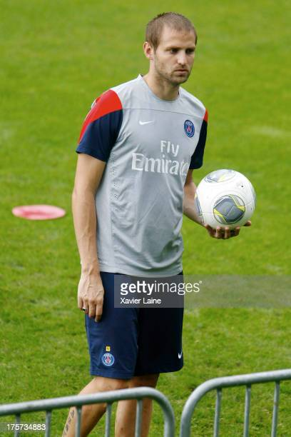 Mathieu Bodmer of Paris SaintGermain in action during a training session at Clairefontaine training center on August 07 2013 in...