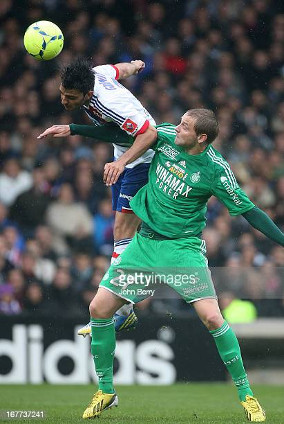 Mathieu Bodmer of SaintEtienne and Clement Grenier of Lyon in action during the Ligue 1 match between Olympique Lyonnais OL and AS SaintEtienne ASSE...