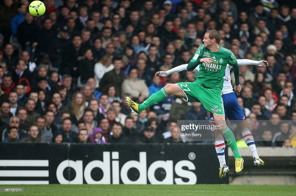Mathieu Bodmer of Saint-Etienne in action during the Ligue 1 match between Olympique Lyonnais, OL, and AS Saint-Etienne, ASSE, at the Stade Gerland on April 28, 2013 in Lyon, France.