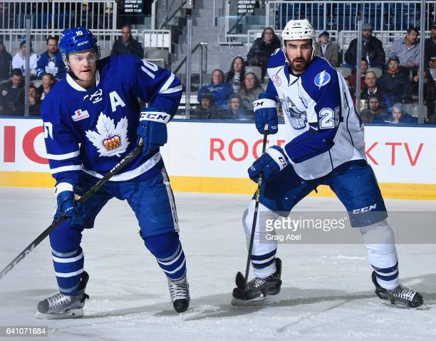 Mathieu Brodeur of the Syracuse Crunch watches the play against Byron Froese of the Toronto Marlies during AHL game action on February 4 2017 at...