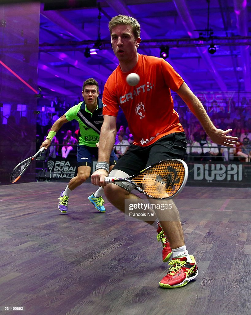 Mathieu Castagnet of France competes against Miguel Angel Rodriguez of Colombia during day three of the PSA Dubai World Series Finals 2016 at Burj Park on May 26, 2016 in Dubai, United Arab Emirates.