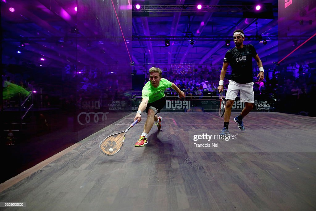 Mathieu Castagnet of France competes against Mohammed Elshorbagy of Egypt during day one of the PSA Dubai World Series Finals 2016 at Burj Park on May 24, 2016 in Dubai, United Arab Emirates.