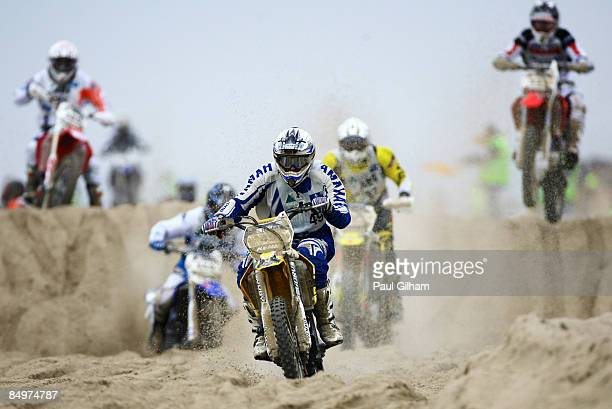 Mathieu Dalbec drives ahead of other competitors on the 173 kilometre circuit during the Enduropale race featuring over 1000 motorbikes in The 4th...