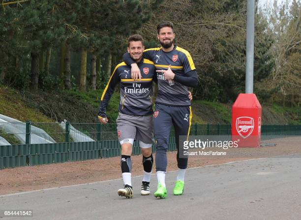 Mathieu Debuchy and Olivier Giroud of Arsenal before a training session at London Colney on March 17 2017 in St Albans England