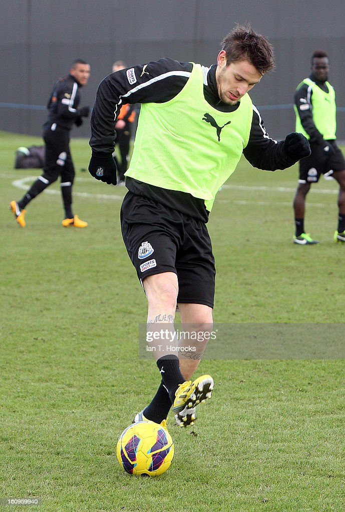 <a gi-track='captionPersonalityLinkClicked' href=/galleries/search?phrase=Mathieu+Debuchy&family=editorial&specificpeople=729104 ng-click='$event.stopPropagation()'>Mathieu Debuchy</a> during a Newcastle United training session at the Little Benton training ground on February 08, 2013 in Newcastle upon Tyne, England.