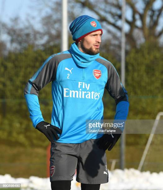 Mathieu Debuchy of Arsenal during a training session at London Colney on December 12 2017 in St Albans England