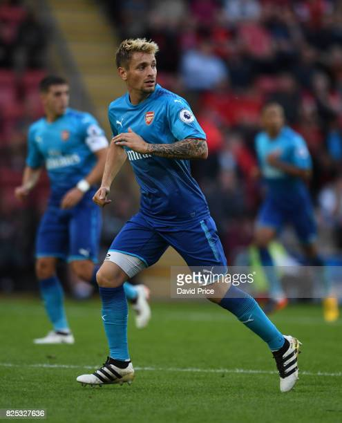 Mathieu Debuchy of Arsenal during the match between Leyton Orient and Arsenal U23 at Brisbane Road on August 1 2017 in London England