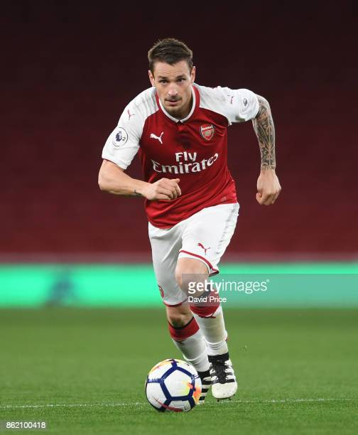 Mathieu Debuchy of Arsenal during the Premier League 2 match between Arsenal and Sunderland at Emirates Stadium on October 16 2017 in London England