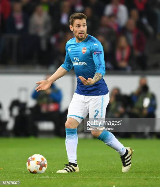 Mathieu Debuchy of Arsenal during the UEFA Europa League group H match between FC Koln and Arsenal FC at RheinEnergieStadion on November 23 2017 in...