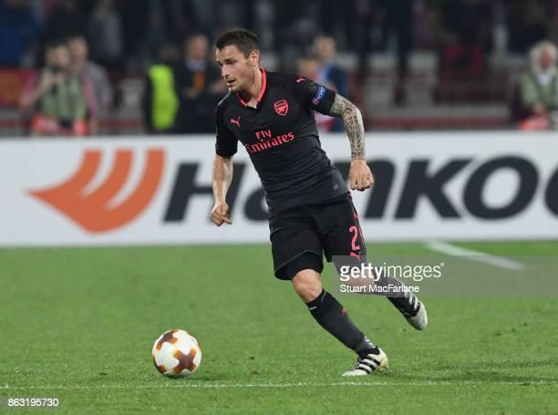 Mathieu Debuchy of Arsenal during the UEFA Europa League group H match between Crvena Zvezda and Arsenal FC at Rajko Mitic Stadium on October 19 2017...