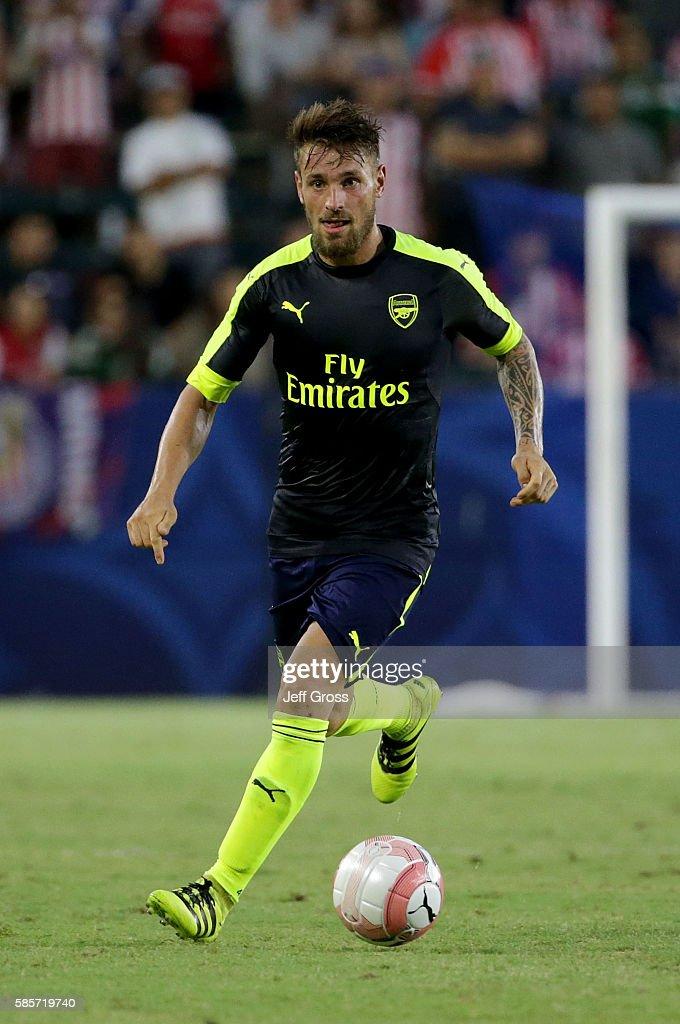 Mathieu Debuchy of Arsenal in action against Chivas de Guadalajara at StubHub Center on July 31 2016 in Carson California