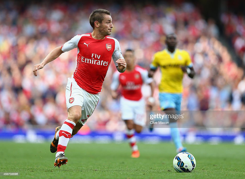 Mathieu Debuchy of Arsenal in action during the Barclays Premier League match between Arsenal and Crystal Palace at Emirates Stadium on August 16...