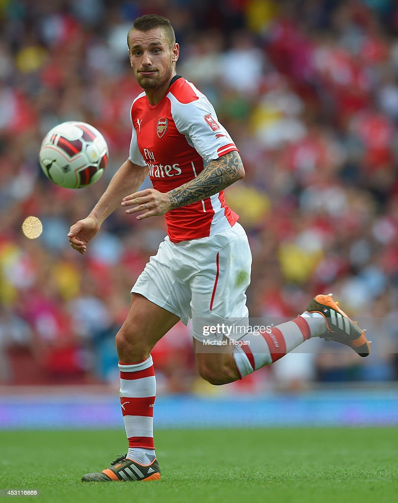 Mathieu Debuchy of Arsenal in action during the Emirates Cup match between Arsenal and AS Monaco at the Emirates Stadium on August 3 2014 in London...