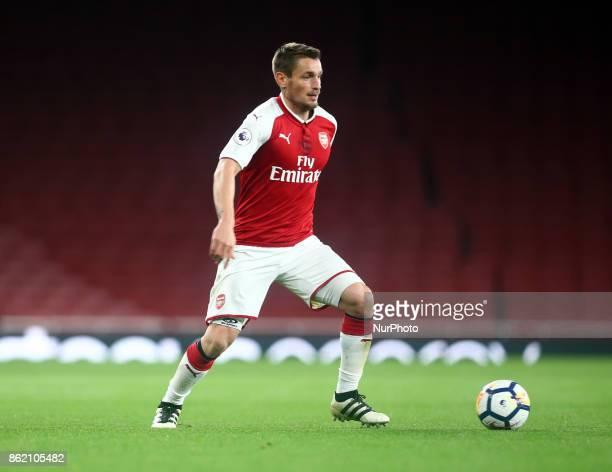 Mathieu Debuchy of Arsenal U23s during Premier League 2 Division 1match between Arsenal Under 23s against Sunderland Under 23s at Emirates Stadium...