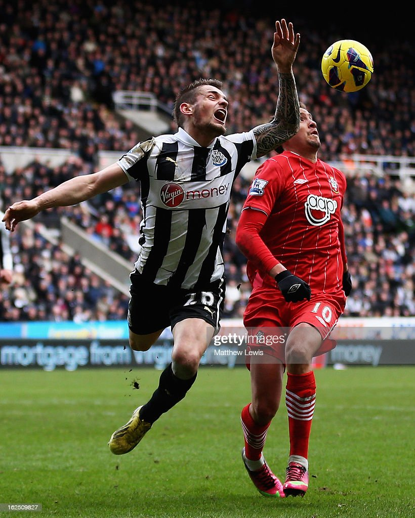 <a gi-track='captionPersonalityLinkClicked' href=/galleries/search?phrase=Mathieu+Debuchy&family=editorial&specificpeople=729104 ng-click='$event.stopPropagation()'>Mathieu Debuchy</a> of Newcastle and Gaston Ramirez of Southampton challenge for the ball during the Barclays Premier League match between Newcastle United and Southampton at St James' Park on February 24, 2013 in Newcastle upon Tyne, England.