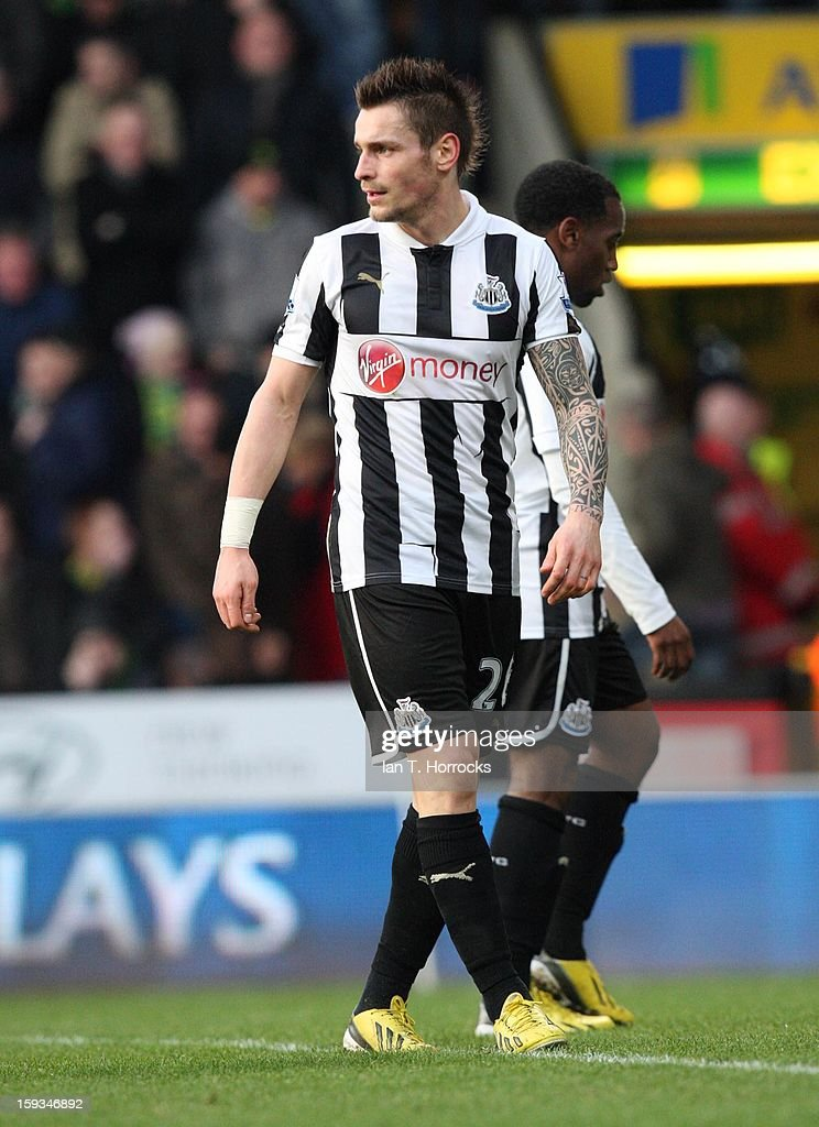 <a gi-track='captionPersonalityLinkClicked' href=/galleries/search?phrase=Mathieu+Debuchy&family=editorial&specificpeople=729104 ng-click='$event.stopPropagation()'>Mathieu Debuchy</a> of Newcastle United during the Barclays Premier League match between Norwich City and Newcastle United at Carrow Road on January 12, 2013 in Norwich, England.