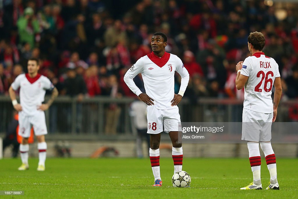 <a gi-track='captionPersonalityLinkClicked' href=/galleries/search?phrase=Mathieu+Debuchy&family=editorial&specificpeople=729104 ng-click='$event.stopPropagation()'>Mathieu Debuchy</a>, <a gi-track='captionPersonalityLinkClicked' href=/galleries/search?phrase=Salomon+Kalou&family=editorial&specificpeople=453312 ng-click='$event.stopPropagation()'>Salomon Kalou</a> and <a gi-track='captionPersonalityLinkClicked' href=/galleries/search?phrase=Nolan+Roux&family=editorial&specificpeople=5969784 ng-click='$event.stopPropagation()'>Nolan Roux</a> (L-R) of Lille react during the UEFA Champions League group F match between FC Bayern Muenchen and LOSC Lille at Allianz Arena on November 7, 2012 in Munich, Germany.
