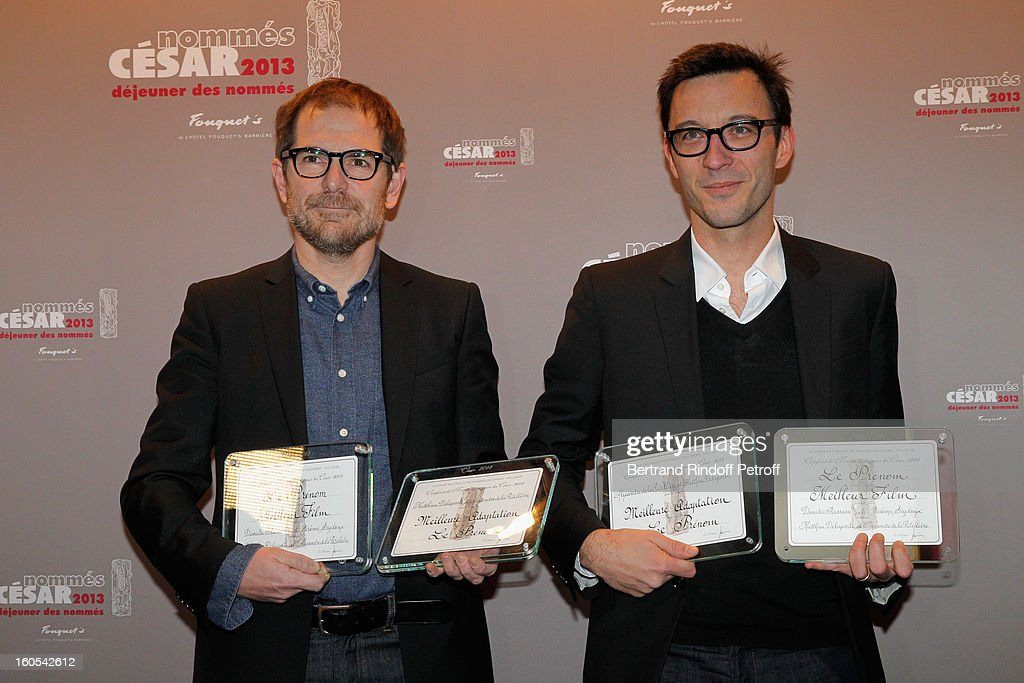 Mathieu Delaporte and Alexandre de la Pateliere attend the Cesar 2013 nominne lunch at Le Fouquet's on February 2, 2013 in Paris, France.