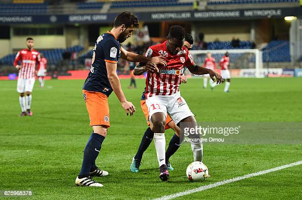 Mathieu Deplagne of Montpellier and Abdou Coulibaly of Nancy during the French Ligue 1 match between Montpellier and Nancy at Stade de la Mosson on...
