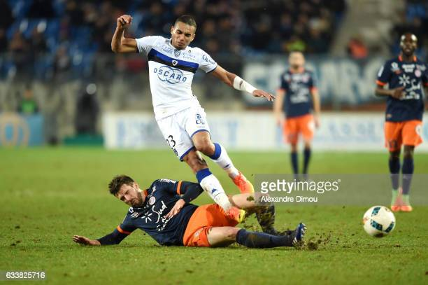 Mathieu Deplagne of Montpellier and Alexander Djiku of Bastia during the Ligue 1 match between Montpellier Herault and SC Bastia at Stade de la...