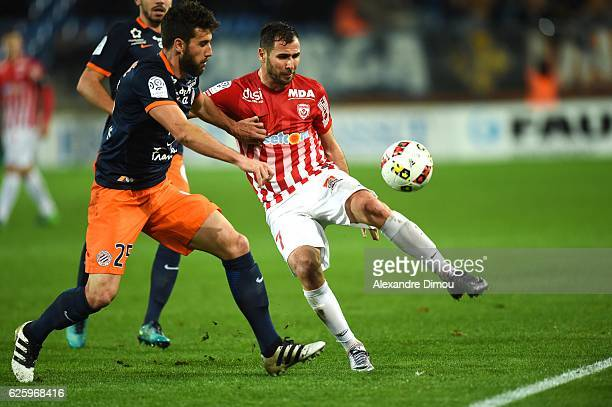 Mathieu Deplagne of Montpellier and Antony Robic of Nancy during the French Ligue 1 match between Montpellier and Nancy at Stade de la Mosson on...