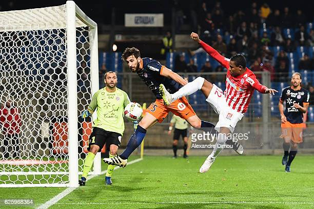 Mathieu Deplagne of Montpellier and Christophe Mandanne of Nancy during the French Ligue 1 match between Montpellier and Nancy at Stade de la Mosson...