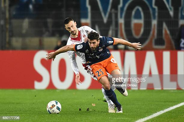 Mathieu Deplagne of Montpellier and Diego Contento of Bordeaux during the French Ligue 1 match between Montpellier and Bordeaux at Stade de la Mosson...