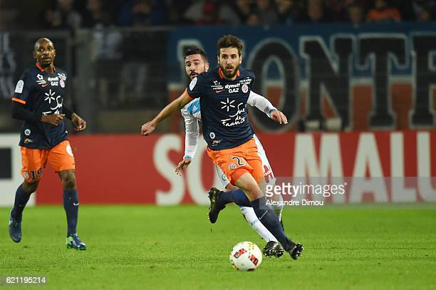 Mathieu Deplagne of Montpellier and Romain Alessandrini of Marseille during the ligue 1 match between Montpellier Herault and Olympique de Marseille...