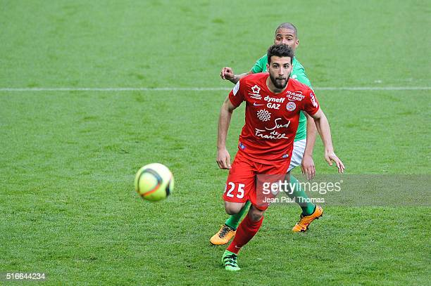 Mathieu DEPLAGNE of Montpellier during the French Ligue 1 match between AS SaintEtienne and Montpellier Herault SC at Stade GeoffroyGuichard on March...