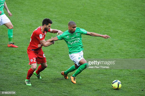 Mathieu DEPLAGNE of Montpellier Kevin MONNET PAQUET of Saint Etienne during the French Ligue 1 match between AS SaintEtienne and Montpellier Herault...